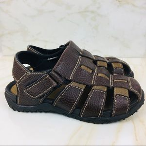 Smart Fit Size 1 Boys Youth Sandals Brown